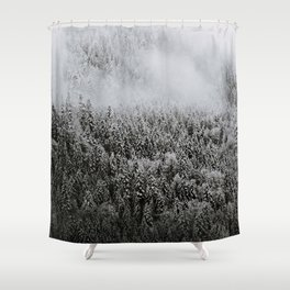 Moody forest in the Fog - Black and White Landscape Photography Shower Curtain