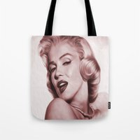 marilyn Tote Bags featuring Marilyn  by Jason Michael