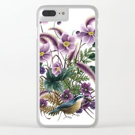 Autumn Nuthatch Clear iPhone Case