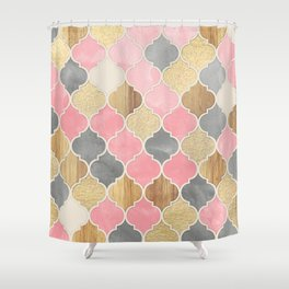 Silver Grey, Soft Pink, Wood & Gold Moroccan Pattern Shower Curtain