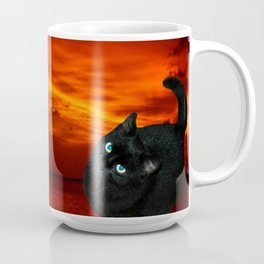Cat and Red Sky Coffee Mug