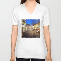 bohemian V-neck T-shirts featuring Bohemian Dream by Angela Pesic