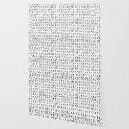 Futhark full runic print (Viking runes) white version Wallpaper
