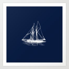 Sailboat Sailing Boat in White and Nautical Navy Blue Art Print