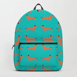 Teal Dachshund Backpack