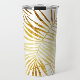Tropical Palm Fronds in Gold Travel Mug