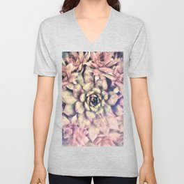 Sempervivum, Succulent Red  Mandala Unisex V-Neck