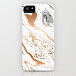 White royal golden abstract liquid marble texture iPhone Case