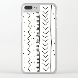 Moroccan Stripe in Cream and Black Clear iPhone Case