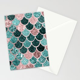 Mermaid Fish Scales, Pink, Rose Gold, Teal, Emerald Green Stationery Cards