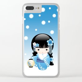 Japanese Winter Kokeshi Doll Clear iPhone Case