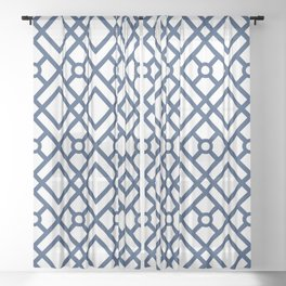 Modern Geometric Diamonds and Circles Pattern Navy Blue and White Sheer Curtain
