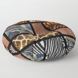 Mondrian animal skin. Tiger, Crocodile, tiger and giraffe skin. Floor Pillow