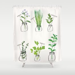 Mason Jar Herbs Shower Curtain