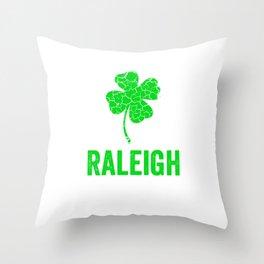 Raleigh Irish, St Patricks Day, Four Leaf Clover Throw Pillow