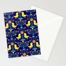 Folk Birds Blue Stationery Cards