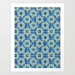 Bold Plaid Floral Pattern Art Print
