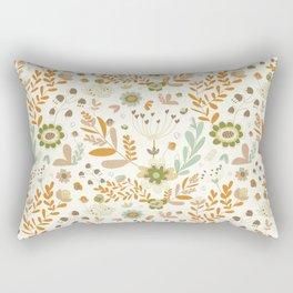 Little Creme Garden Flowers Rectangular Pillow