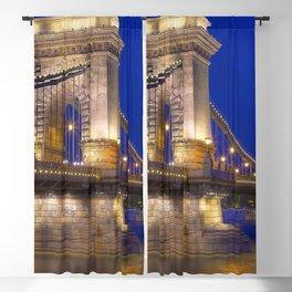 Historic Széchenyi Lánchíd Chain Bridge Across Danube River Budapest Hungary Europe Ultra HD Blackout Curtain