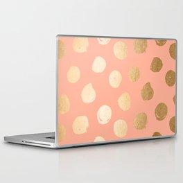 Sweet Life Polka Dots Peach Coral + Orange Sherbet Shimmer Laptop & iPad Skin