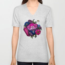 Pride Bisexual D20 Tabletop RPG Gaming Dice Unisex V-Neck