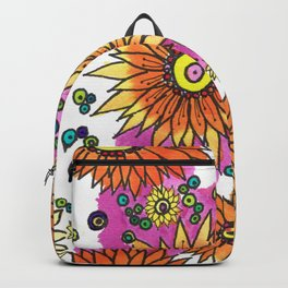 Orange Daisies and Pink Backpack