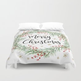 Merry Christmas wreath with red berries Duvet Cover