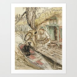 Arthur Rackham - The Wind in the Willows (1940) - Ratty and Mole by a Boat Art Print