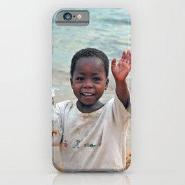 Lovely Cheerful Boy Waving Portrait iPhone Case