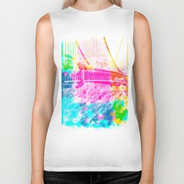 closeup Golden Gate bridge, San Francisco, USA with colorful painting abstract background Biker Tank