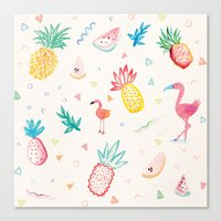 pinapple Canvas Prints featuring Trop-i-COOL by Laura Francis