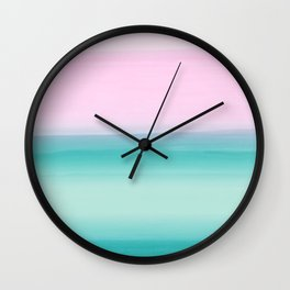Touching Seafoam Teal Pink Watercolor Abstract #1 #painting #decor #art #society6 Wall Clock