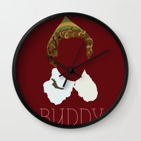 will ferrell Wall Clocks featuring Buddy the Elf and you by Ally Simmons