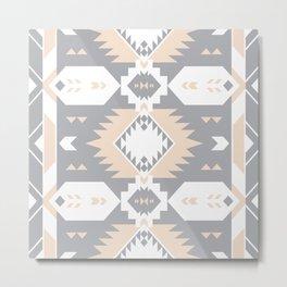 Southwestern Navajo Tribal, Gray, White, and Nude Blush Metal Print