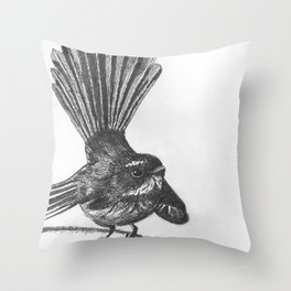 New Zealand fat fuzzy fantail Throw Pillow