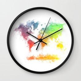 World Map splash 4 Wall Clock