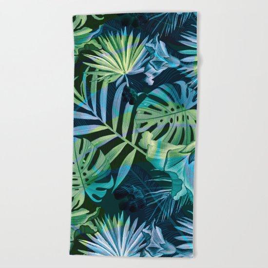 Tropical fiesta - moonlit Beach Towel