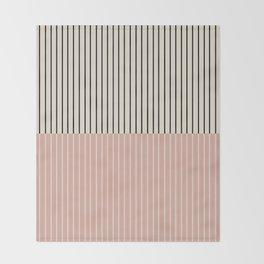 Color Block Lines XIV Vintage Pink Throw Blanket