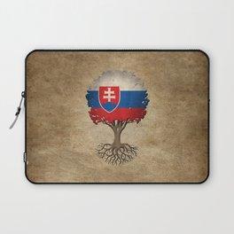 Vintage Tree of Life with Flag of Slovakia Laptop Sleeve