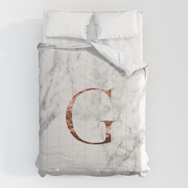 Monogram rose gold marble G Comforters