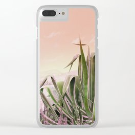 Agave in the Garden on Pastel Coral Clear iPhone Case