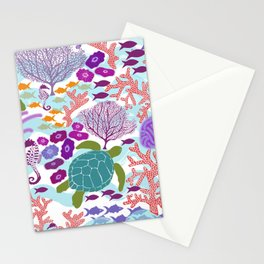 Rush Hour at the Reef - Ocean Life - Sea Life - Marine - beach  Stationery Cards