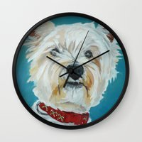 westie Wall Clocks featuring Jesse the Beautiful Westie by Barking Dog Creations Studio