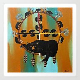 Bear Totem Medicine Wheel  Art Print