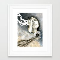 cigarettes Framed Art Prints featuring Coffee & Cigarettes by Jana Heidersdorf Illustration