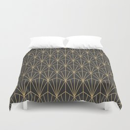 Art Deco Vector in Charcoal and Gold Duvet Cover