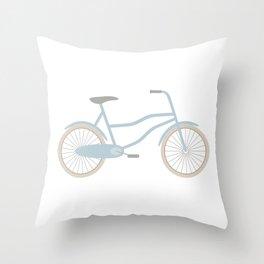 Blue Retro Bicycle Throw Pillow