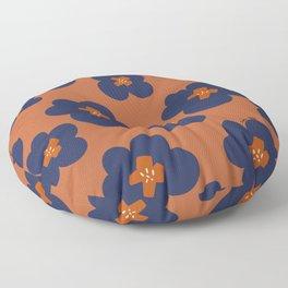 retro camellia orange brown Floor Pillow