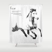 courage Shower Curtains featuring Courage by 1551 MX