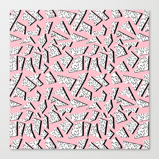 Crunk - throwback retro memphis design style minimal pattern print pink white and black Canvas Print